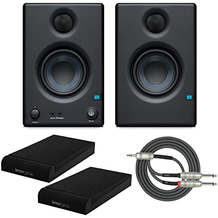 "Presonus Eris E3.5 2-Way 3.5"" Near Field Studio Monitor (Pair) with Knox Isolation Pads and Stereo Breakout Cable Bundle"