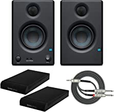 """Presonus Eris E3.5 2-Way 3.5"""" Near Field Studio Monitor (Pair) with Knox Isolation Pads and Stereo Breakout Cable Bundle"""
