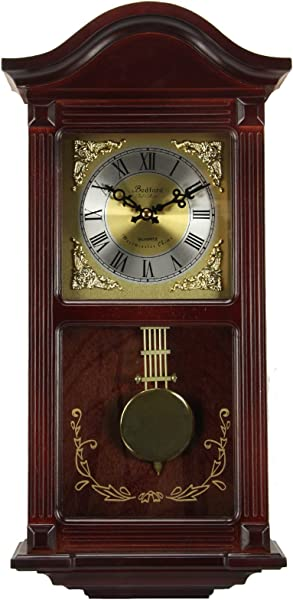 Bedford Clock Collection Mahogany Wall Clock With Pendulum And Chimes Cherry Wood