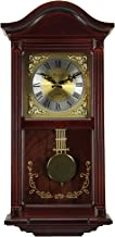 Bedford Clock Collection Mahogany Wall Clock with Pendulum and Chimes, Cherry Wood