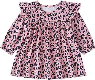 Xifamniy Infant Girls Long Sleeve Dresses Round Neck Cartoon Pattern Fashion Tutu Dress