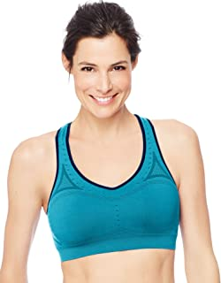 Hanes Womens Seamless Sports Bra, S, Super Turquoise/Stately Blue