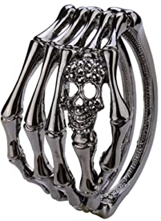 Aworth Skull Skeleton Hand Bracelet Bangle Biker Gothic Jewelry Gifts Women Her Girlfriend Antique Silver Color D08 Dropshipping