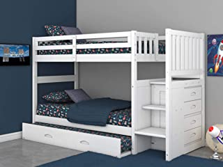 Discovery World Furniture Twin Over Twin Stair Stepper Bed with Trundle, Desk, Hutch, Chair and 5 Drawer Chest in White Finish