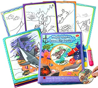HOMSEEK Magic Doodle Books,Aqua Drawing Fabric Books(2.6in x 8.3in) with 2 Doodle Pens,Cloth Reusable Water Wow Doodle Learning Painting Doodle Scribble Pad with Magic Water Pens for Kids-Ocean