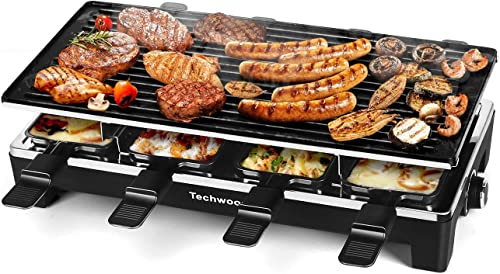 Techwood-Raclette-Table-Grill,-Electric-Indoor-Grill-Korean-BBQ-Grill