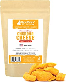 Raw Paws Wisconsin Freeze Dried Cheese Dog Treats - Crunchy Dog Cheese Puffs Made in USA - Natural, USDA Certified, Human Grade Dried Cheese for Dogs - 100% Real Cheddar Cheese Bites for Dogs