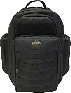 HSD Diaper Bag Backpack for Dad, Large Waterproof Tactical Travel Baby Bag for Men + Changing Pad, Insulated Pockets, Stroller Straps and Wipe Pocket. Multi-function, Military Style. (Black)