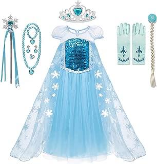 MUABABY Girls Ice Snow Queen Sequin Princess Upgrade Deluxe Costume Long Sleeve Elsa