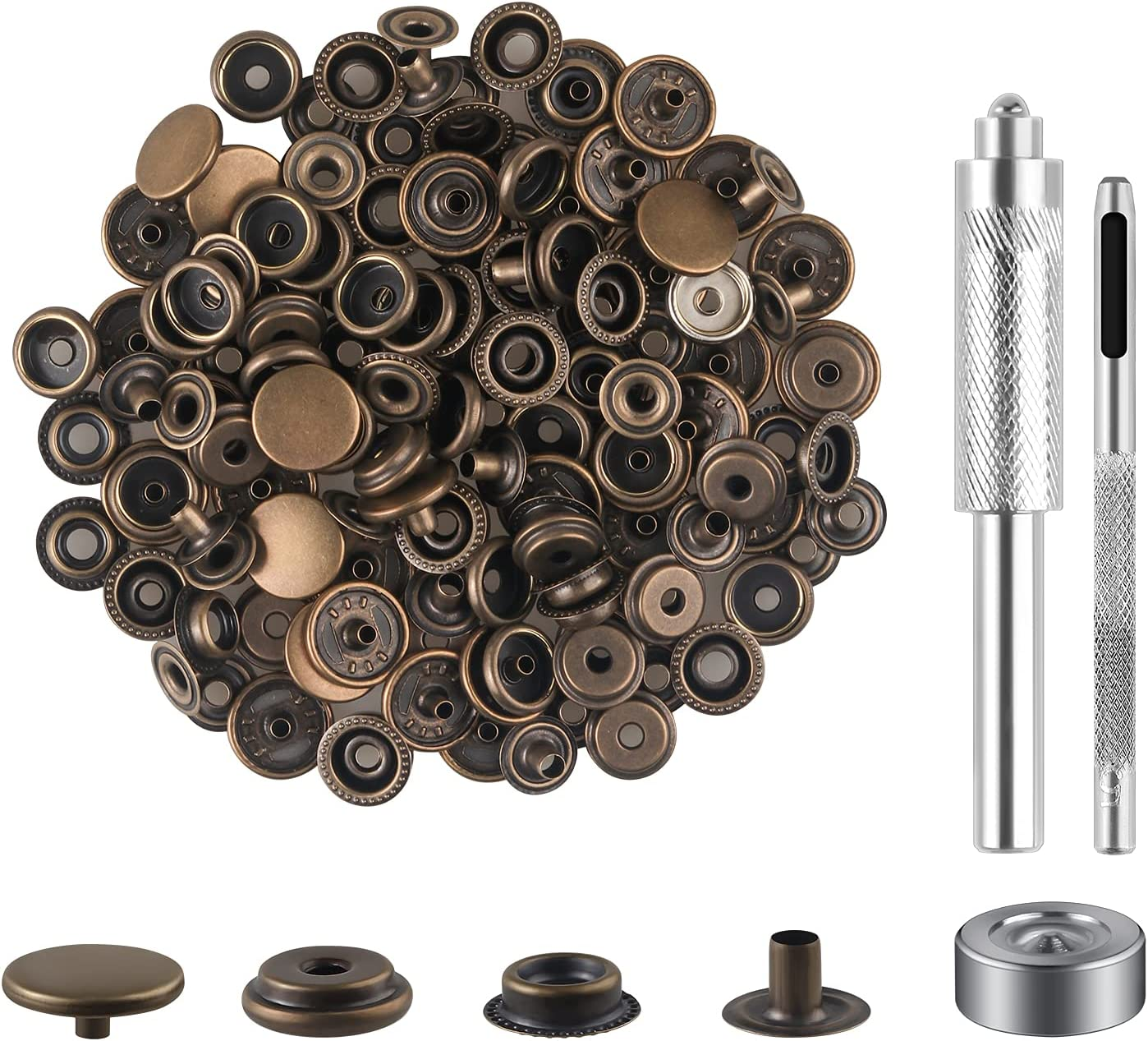 40 Pieces Tucson Mall New popularity 10 Sets Snap Fastener Kit 15mm Sna 8 inches 5 Tool