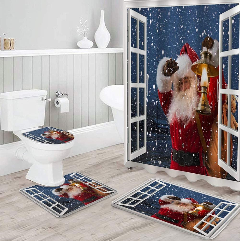 4 Fixed price for sale PCS Shower Curtain Max 47% OFF Sets Window Frame Style Carryi Claus Santa