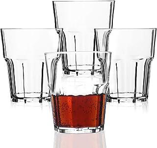 PEMOTech Vasos de Agua, 25 cl Vasos Agua Cristal Plástico Duro (Juego de 4), Vasos Acrílico Transparentes [Resistente a Las Roturas,Reutilizable,Lavavajillas] para Té, Café, Whisky y Leche