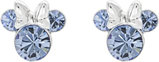 Minnie Mouse Birthstone Jewelry, Silver Plated Crystal Stud Earrings for Women and Girls (More Colors Available)