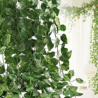 HAPOWELL Artificial Ivy Leaf Plants Vine, 12 Strands 87 Feet Artificial Garlands Fake Foliage Flowers Hanging Vine for Home Kitchen Garden Office Wedding Party Wall Decor
