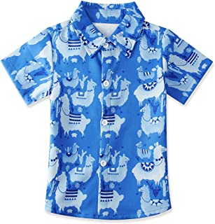 Enlifety Kids Boys Summer Button Down Shirt Hawaiian Aloha Holiday Short Sleeve Dress Shirts Tops 2-8 Years