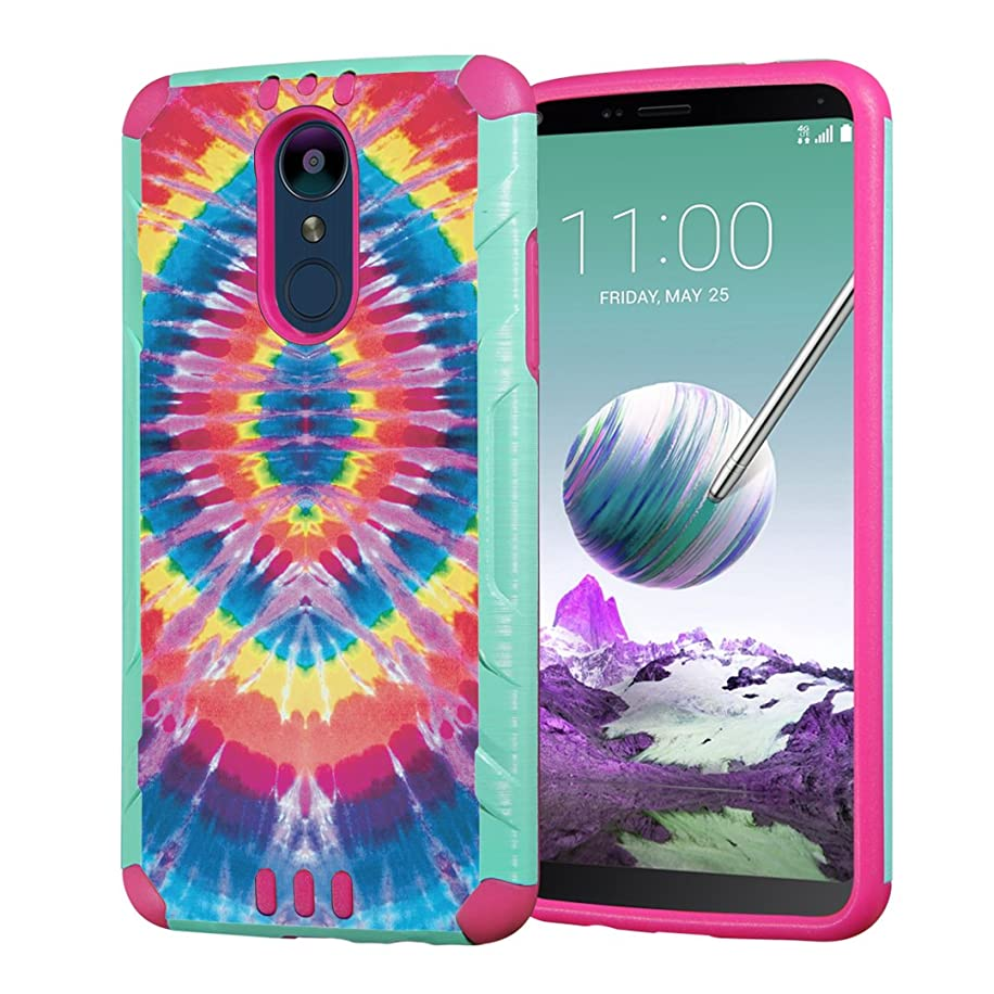 Moriko Case Compatible with LG Stylo 4 Plus, LG Stylo 4, LG Q Stylus [Heavy Duty Armor Drop Protection Dual Layer Shockproof Case Mint Pink] for LG Stylo 4 - (Tie Dye)