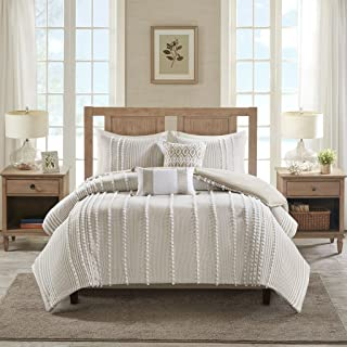 Harbor House Anslee Duvet Cover King Size - Taupe , Tufted Cotton Chenille Dots Duvet Cover Set – 3 Piece – 100% Cotton Percale Light Weight Bed Comforter Covers