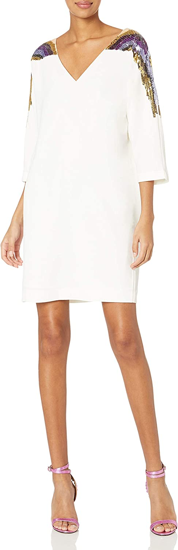 Trina Turk Women's safety Reservation Shobu Sequin Sleeve Double Dress V