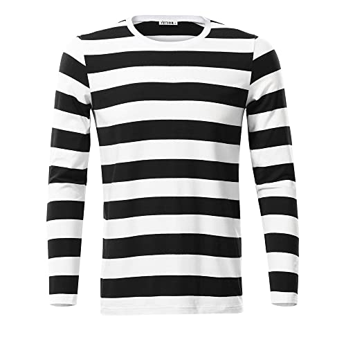 91d74bdb5c8b VETIOR Mens Basic Striped Long Sleeve Casual Cotton T-Shirt