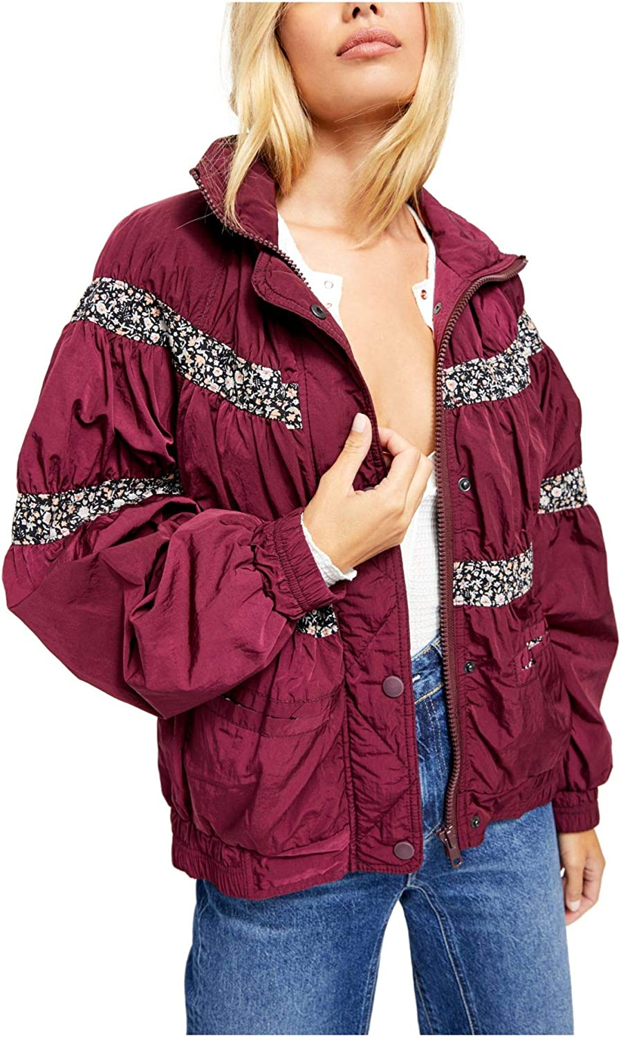 We The Free Womens On My Mind Winter Oversize Bomber Jacket Purple L