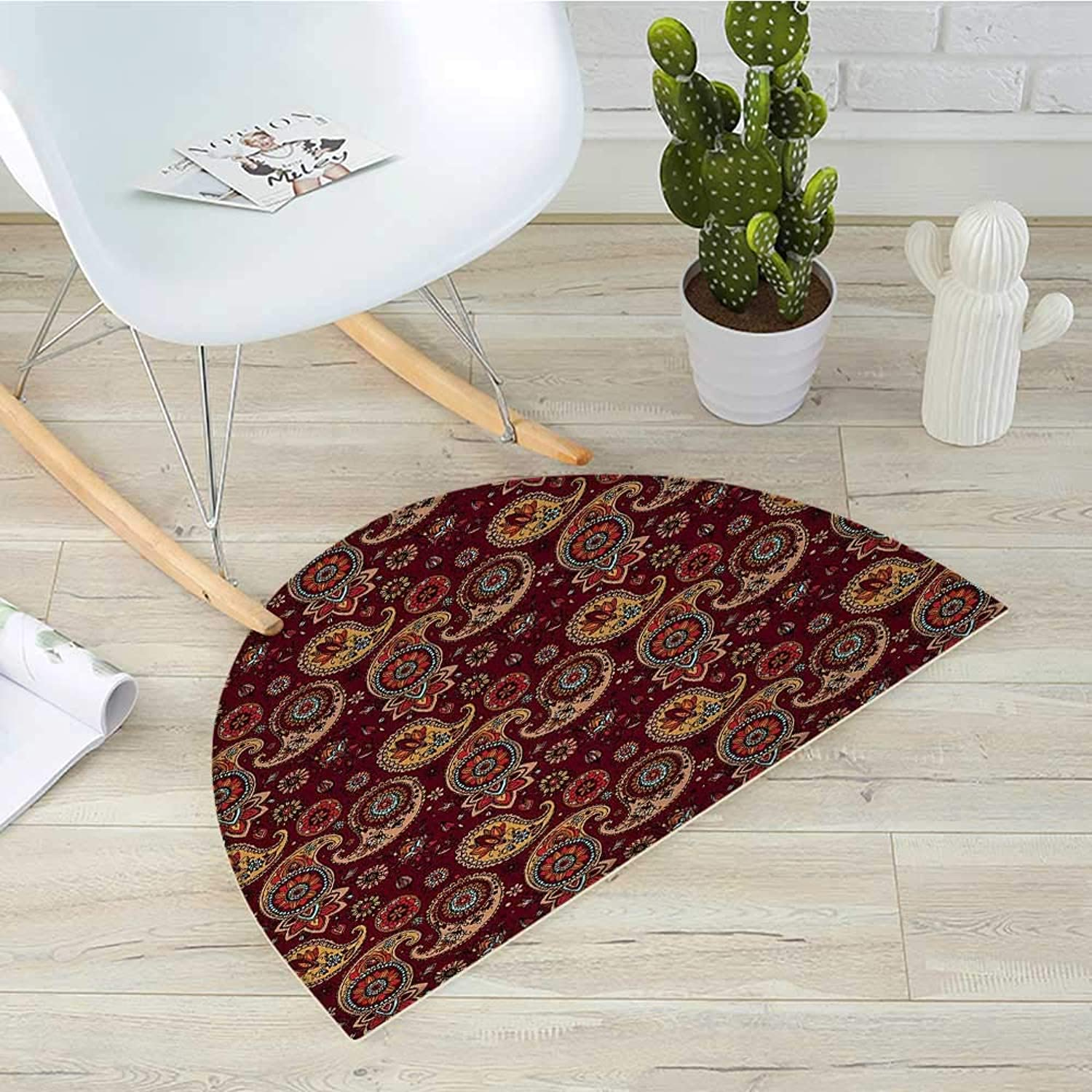 Paisley Half Round Door mats Middle Eastern Culture Stylized Pattern Tribual Artwork Bohemian Bathroom Mat H 39.3  xD 59  Chestnut Brown Mustard Teal
