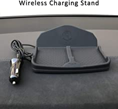 Wireless Charging Dashboard Phone Mount Pad Stand Base,No Slip Anti Skid Car Visor Dash Organizer Holder Tray Storage for Sunglasses,Keychain,Coins,Pens,Cell Phone,GPS Navigator for Tesla Model S X 3