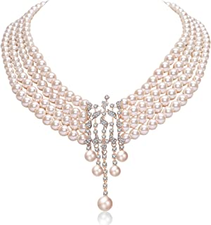 Audrey Hepburn Inspired Pearl Necklace Inspired by Breakfast at Tiffany's 1920s Gatsby Imitation Pearls Necklace with Crystal Brooch Bridal Pearl Jewelry Sets