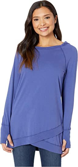 Classic Jersey Raglan Sleeve Crossover Front Hooded Tunic
