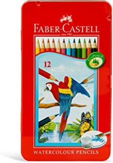 Faber-CastellPARROT DESIGN WATER COLOUR PENCILS 12 COLOUR IN A FLAT METAL TIN, ASSORTED, 115913