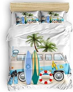 Sunteeny Home Bedding Set 4 Piece Duvet Cover Set Twin Size Beach Tour Bus Lifebuoy Surfboard Diving Mask Flip Flops Soft Comforter Cover Set Quilt Cover Set for Children/Adults All Seasons