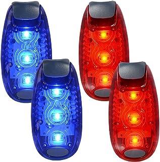 WINOMO 2 par säkerhets-LED-ljus för löpare cyklar båtar hög synlighet klämmlampa för löpning promenader joggning (blå + röd)