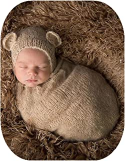 Pinbo Newborn Baby Photography Props Boy Girl Crochet Costume Outfits Cute Hat Sleeping Bag (Khaki)