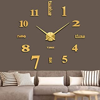 Vangold Frameless DIY Wall Clock, 2-Year Warranty 3D Mirror Wall Clock Large Mute Wall Stickers for Living Room Bedroom Ho...