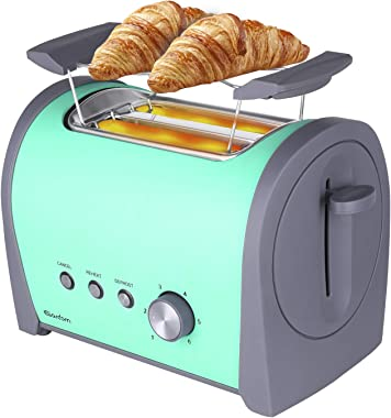 GARDOM Toaster 2 Slice Electric: Stainless Steel Extra Wide Slot Retro Green Color Cool Touch Toaster Small Kitchen Bread Toa