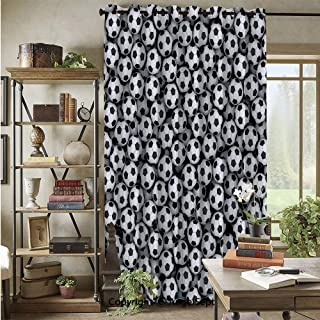Wide Width Curtain Blackout Curtains,Composed of Many Soccer Balls Competition Hobby Leisure Abstract Art,76x108inch,for Large Windows,Sliding Doors