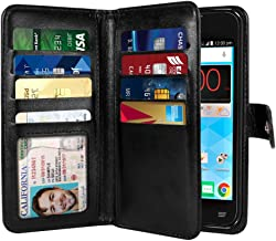 NEXTKIN Quest Uhura Case, Leather Dual Wallet Folio TPU Cover, 2 Large Pockets Double flap Privacy, Multi Card Slots Snap Button Strap For ZTE N817 Quest Uhura - Black