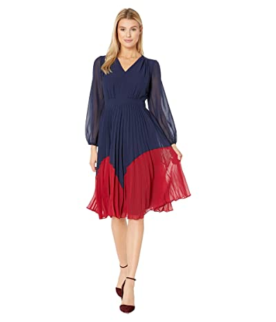 Maggy London Solid Chiffon Color Block Fit and Flare Dress (Navy/Majestic Scarlet) Women