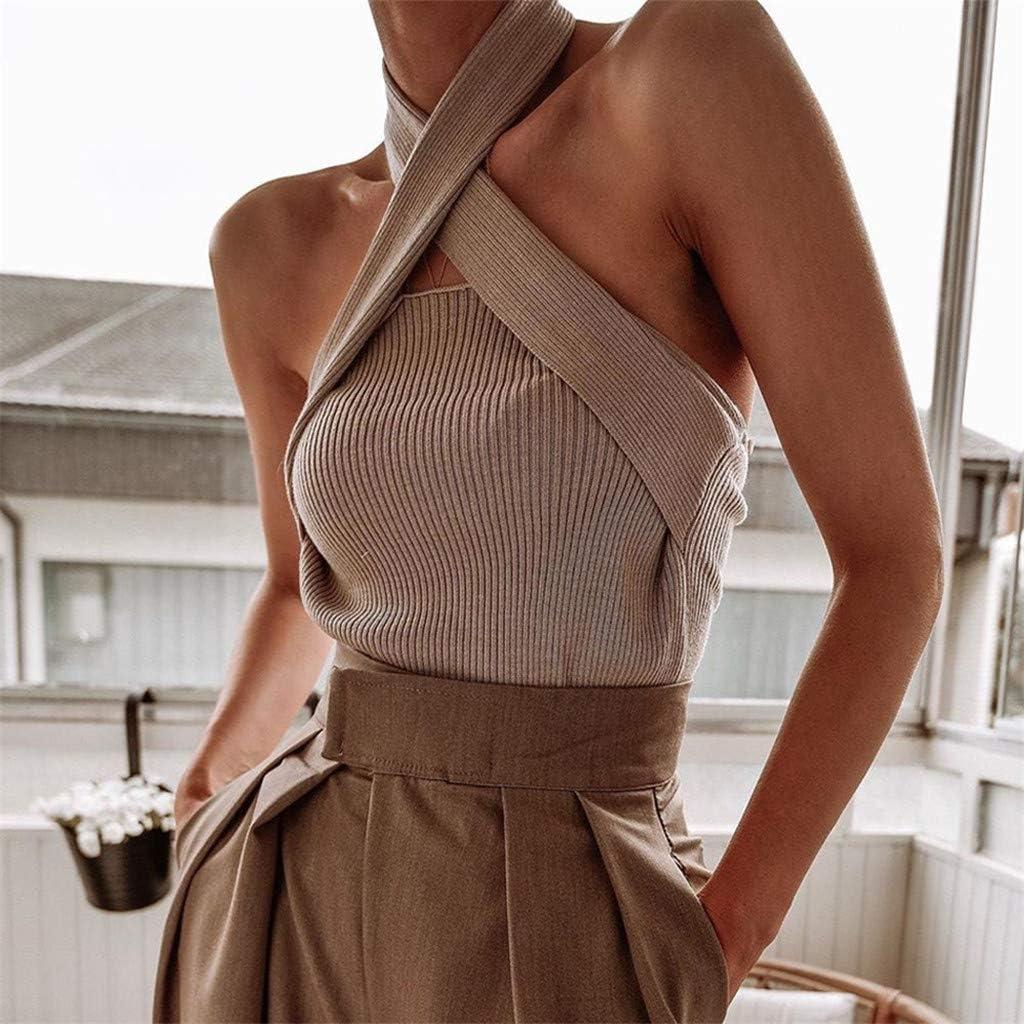 iCJJL Women's Tops Knitting Wrap Chest&Shoulder Sweaters Sleeveless Tanks Vests