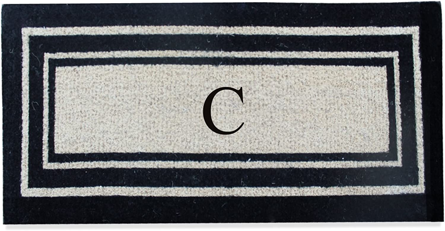 A1 HOME COLLECTIONS First Impression A1HC Black Classic Border Coir Doormat, 24 x57 (PL1001C)