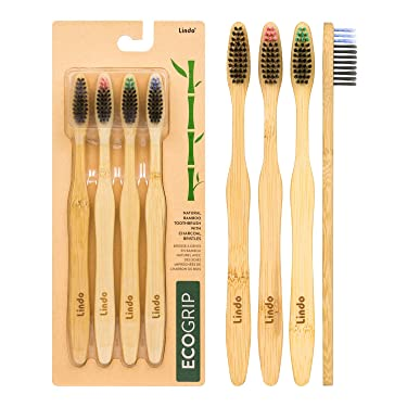 Lindo EcoGrip Charcoal Infused Bamboo Toothbrush - Soft German Made Fiber Bristles, Organic, Biodegradable and 100% Recyclable, Multi-Colored - Pack of 4