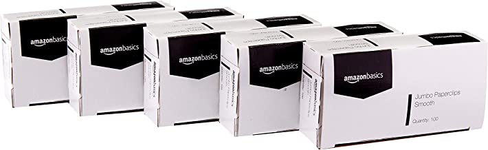 AmazonBasics Jumbo Size Office Paper Clips, Smooth, 100 per Box, 10-Pack