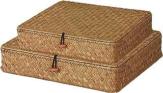 Chytaii 2pcs Panier de Rangement Plat Panier avec Couvercle pour étagère Boîte de Rangement Tissage en Rotin pour Le Maqui...