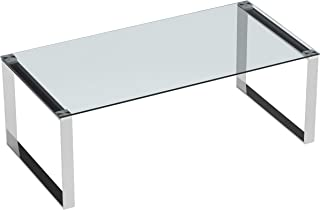 Cortesi Home Remi Contemporary Glass Coffee Table with Chrome Finish