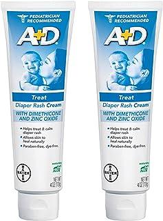 Zinc Oxide Diaper Rash Treatment Cream, Dimenthicone 1%, Zinc Oxide 10%, Easy Spreading Baby Skin Care, 4 Ounce Tube (2 Pack)