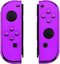 eXtremeRate Chrome Purple Joycon Handheld Controller Housing with Full Set Buttons, DIY Replacement Shell Case for Nintendo Switch Joy-Con – Console Shell NOT Included