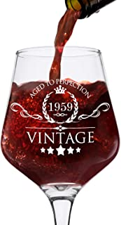 1959 60th Birthday Gifts for Women and Men Wine Glass - Vintage Funny Anniversary Gift Ideas for Mom, Dad, Husband, Wife - 60 Years Gifts, Party Favors, Decorations for Him or Her - 12.75oz