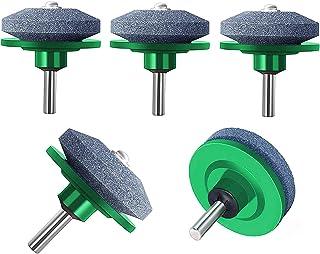 ZALALOVA Lawn Mower Blade Sharpener, 5Pcs Universal Lawnmower Blade Sharpener for Any Power Drill Hand Drill(Green)