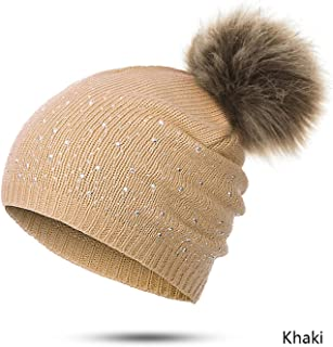 Winter hat Women Cute Casual Drilling Solid hot Ball Faux Fur Ball Girl hat