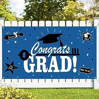 Graduation Party Supplies 2021 Congrats Grad Banner - Blue Graduation Decorations - Class of 2021 Banner for Graduation De...