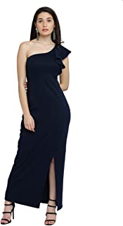 Miss Chase Women's One Shoulder Ruffled Sleeve Slim Fit Long Dress